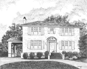 CUSTOM HOME PORTRAIT, Pen and Ink Drawing by Suzanne Churchill, Perfect Realtor Closing Gift, Housewarming Gift, Wedding Gift or Moving Gift