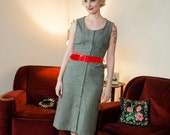 50% OFF SALE - Vintage 1950s Dress -  Chic Silver Grey Wool Button Front 50s Wiggle Dress
