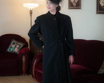 Vintage 1930s Coat - Versatile Black Wool with Curly Persian Lamb Fur 30s Winter Coat