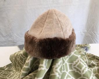 Amazing and Beautiful Mongol, Mongolian, Cossack, Larp, Russian, Viking sheared beaver, beige wool hat
