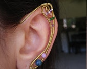 Swirly Brass Elf ear earcuff pair w/ gemstones and unique wire work