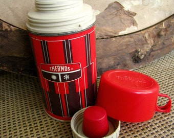 Small Vintage Thermos | Retro Lunch Box Size | Picnic Camping Tailgating | Hot Cold | 70's King Seeley Thermos