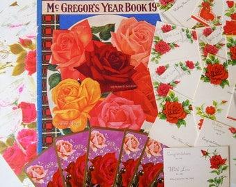 Vintage Floral Ephemera Paper Pack   Inspiration Red Roses Scrapbooking Kit