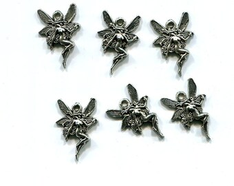 6 fairy charms fairies fantasy 13mm x 20mm antique silver tone metal jewelry supply findings
