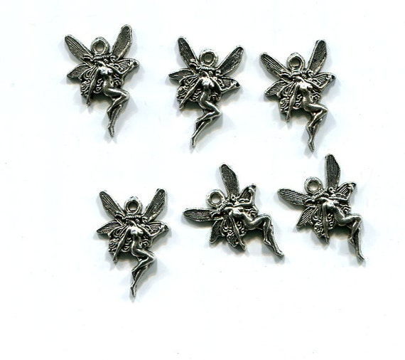 6 tibetan silver fairy charms fairies fantasy 13mm x 20mm antique silver tone metal jewelry supply findings