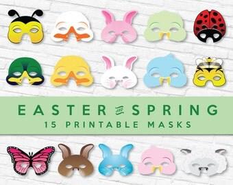 Spring & Easter Printable Mask Set 40% Off   15 Printable Masks - 2 sizes of each design