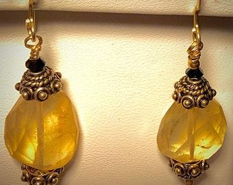 Citrine & 18 karat gold vermeil earrings