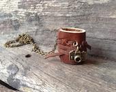 MiniatureBook Necklace Camera & Rustic Brown leather