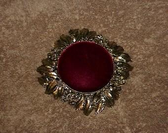 Vintage--Vanity PIN CUSHION--Burgundy Velvet--Leaf & Flower Design--Pewter Colored Metal--Floral--Dresser Top Pin Cushion