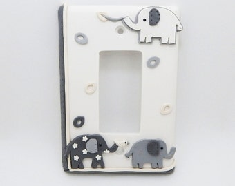 Elephant Light Switch or Outlet Cover - Gray and White - Elephant Nursery,  Childrens Jungle Safari Themed Room - Clay - Rocker Decora
