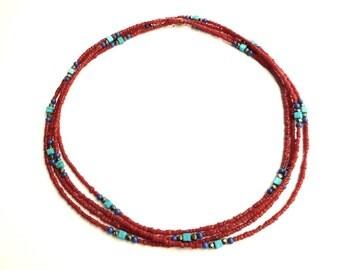 TANGO Long Blood Coral Necklace, Coral Flapper necklace, Red Blue Stone Necklace, Boho Coral Necklace, multistrand choker, urban chic choker