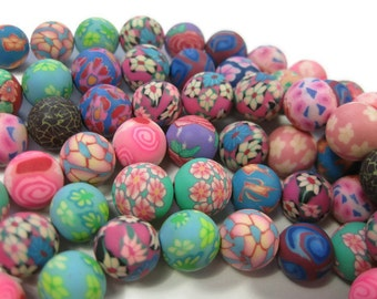 10mm Round Polymer Clay Beads Assorted Variety 50 pieces