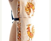 Winter Clearance apron, full size vintage tea towel, tea towel apron gold, white and yellow Rooster