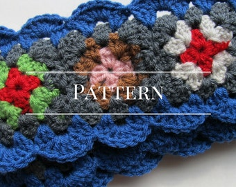 Crochet scarf pattern, Granny Square scarf pattern