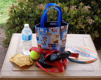 Dog Accessory Tote in a Puppy Patchwork in Blues Print