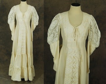 vintage 70s Gunne Sax Dress - 1970s Off White Lace and Cotton Victorian Prairie Dress Wedding Dress Wedding Gown Sz M