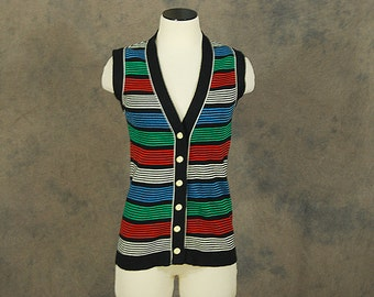 Clearance Sale vintage 70s Sweater Vest - 1970s Rainbow Striped Button Front Sweater - Tunic Sweater Sz S