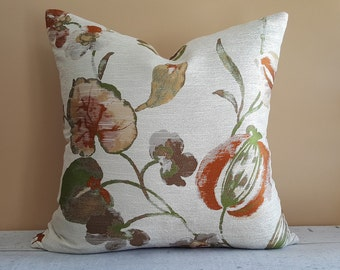 Cream Floral Pillow Cover,  Metallic Accent Pillow,  Large Floral Pillows, Iridescent Green Copper Orange Gold, 18x18, 20x20, Spring  Decor