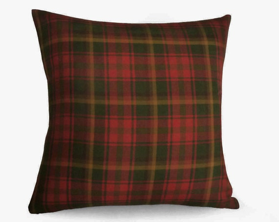 Red Gold Plaid Pillow Covers Red Green Plaid Throw Pillows