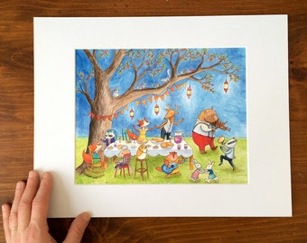 """Wall art, 8x10 matted print of a watercolor. """"Under the Great Apple Tree"""". Nursery, kid's room art. Wedding. Baby shower"""