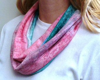 Tourmaline Infinity Scarf - Pink, Blue, Green Circle Scarf - Loop Scarf - Forever Scarf