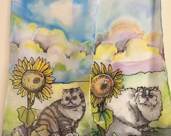 Sweet Persian cats with sunflowers design hand painted silk scarf