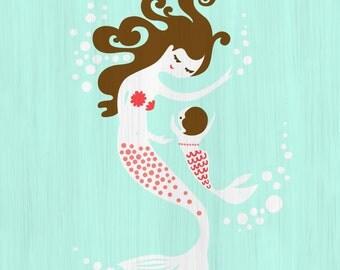 "8X10"" mermaid mother & baby girl giclee print on fine art paper. aqua, pink, brunette."