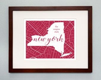 New York State Map Print - 8x10 Wall Art - New York State Nickname - Typography - Housewarming Gift