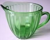 Vintage JEANNETTE Green Depression Glass Creamer Pitcher Optic Vertical Panel Floral Sunflower Base Tough Find