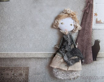 Art doll brooch, Sad Boho Girl, Handmade gift