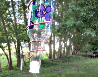 Hummingbird Feeder, Small Bird Feeder,  Recycled Clear Beer Bottle,  Hand Painted, Purple Pansies, Copper Wire Wrapped