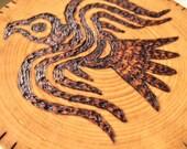 Wood Burned Norse RAVEN On Basswood - Rustic Altar Tile / Home Decor - Viking - Raven Banner - Odin - Medieval - Symbolism - Heathenry