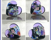 Jacqueline Parkes Tie Tyed Dragonfly  Lampwork Heart Focal Bead - Size 35mm