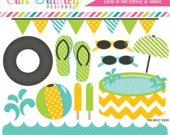 Pool Party Clipart Graphics Blue Yellow & Green Digital Clip Art Beach and Summer Graphics Instant Download
