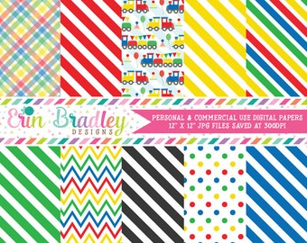 Trains Digital Paper Pack Instant Download Digital Scrapbook Papers in Red Yellow Green Blue with Chevron Stripes & Polka Dots