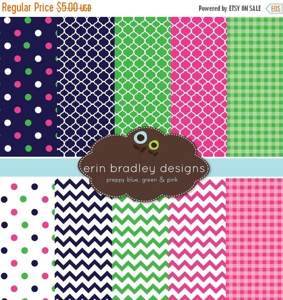 50% OFF SALE Digital Scrapbook Papers Personal and Commercial Use Preppy Navy Blue Pink and Green