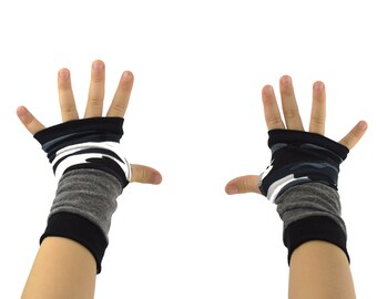 Toddler Arm Warmers in Black Grey White Camo - Camouflage - Upcycled Fingerless Gloves