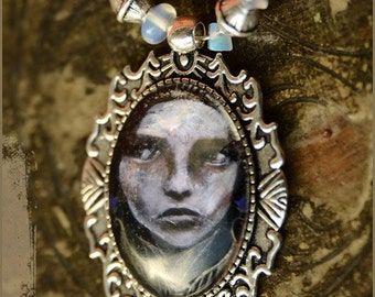 Circe illustrated necklace goddess - wearable art - illustrated jewelry