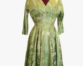 Vintage Green Orchid Twirl Dress