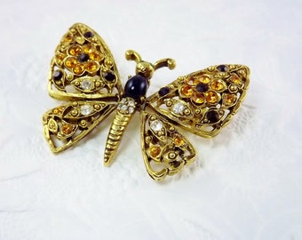 Rhinestone Butterfly Brooch, Citrine Flower Black Figural Pin, 1960s Costume Jewelry