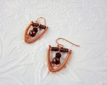 Copper Wire Bead Earrings Handcrafted OOAK Artisan Jewelry