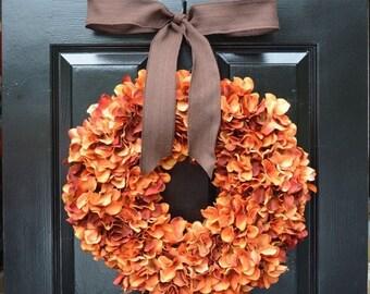 FALL WREATH SALE Orange Hydrangea Pumpkin Wreath Hydrangea Fall Wreath,Thanksgiving Wreath, Fall Decor, Orange Pumpkin Spice Fall Wreath
