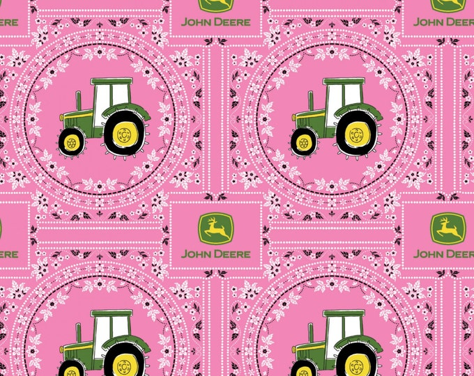 John Deere Pink Bandana Children's Cotton Fabrics by Springs Creative