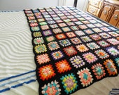 RESERVED FOR RAHUL  Granny Afghan, Black Trim Granny Afghan, Granny Square Blanket, Granny Square Throw
