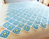 RESERVED FOR RAHUL Granny Square Afghan, Blue and White Granny Afghan, Granny Square Blanket, Hand Crocheted Throw,