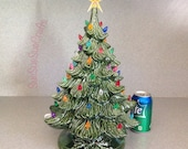 Ready to ship Traditional Old Fashioned Large green glazed lighted Ceramic Christmas Tree .....18 inches Tall #T18-0716