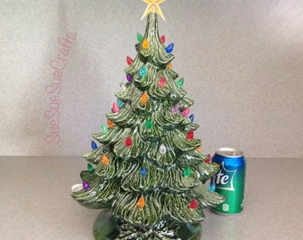 Traditional Old Fashioned Large green glazed lighted Ceramic Christmas Tree Ready to ship .....18 inches Tall #T18-0716