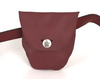 Soft brown leather belt pouch belt bag coin purse for men or women