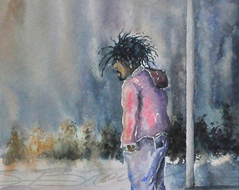 Community Affair Watercolor Painting African American Art