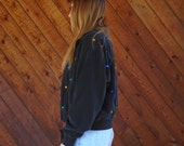 Black Silk Quilted Bomber Jacket with Jewels - Vintage 80s - SMALL MEDIUM